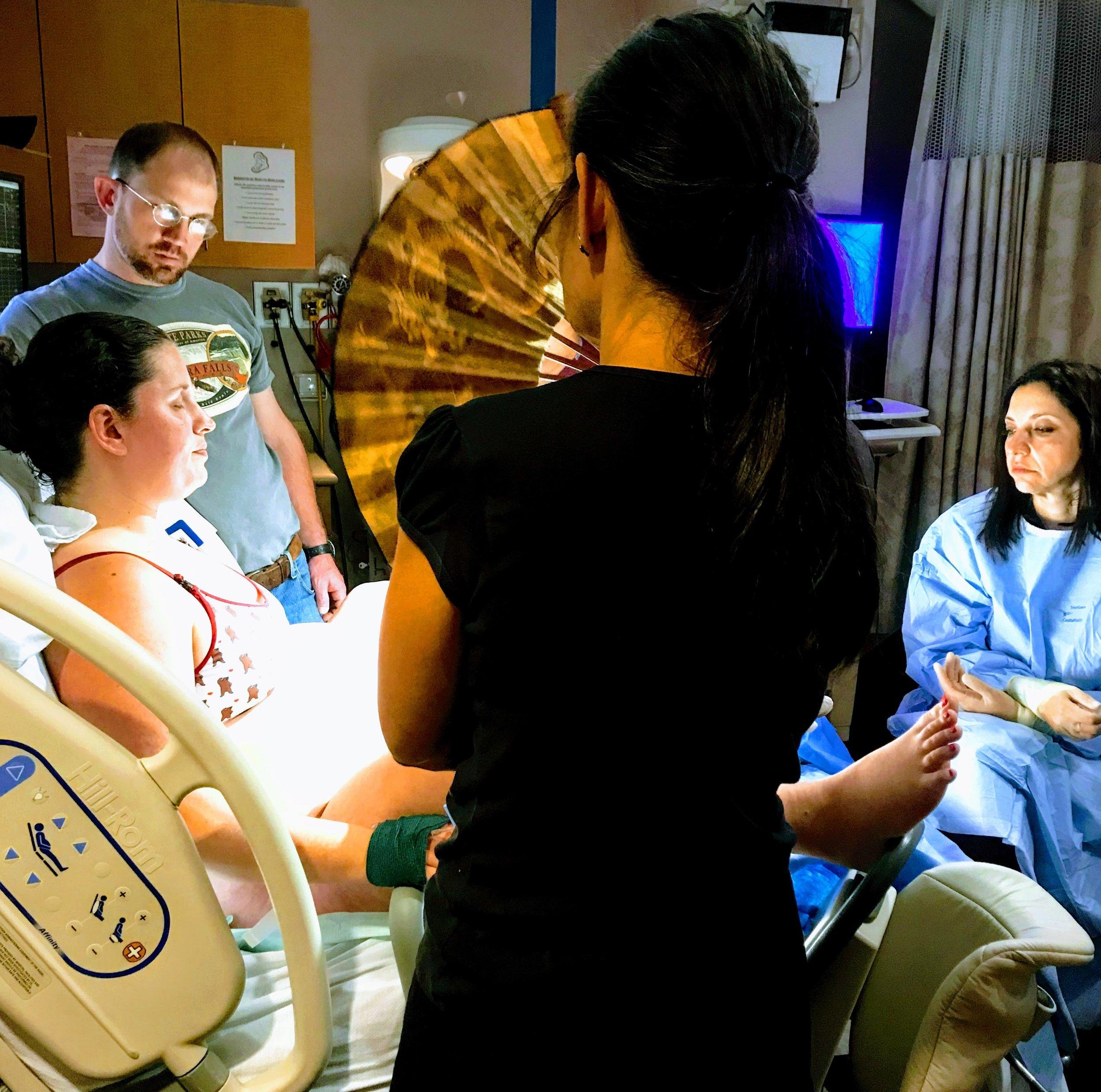 Total VBAC support —with  Dr. Hashemi a nd Tabitha Kaza at  Inova Fair Oaks Hospital, Fairfax