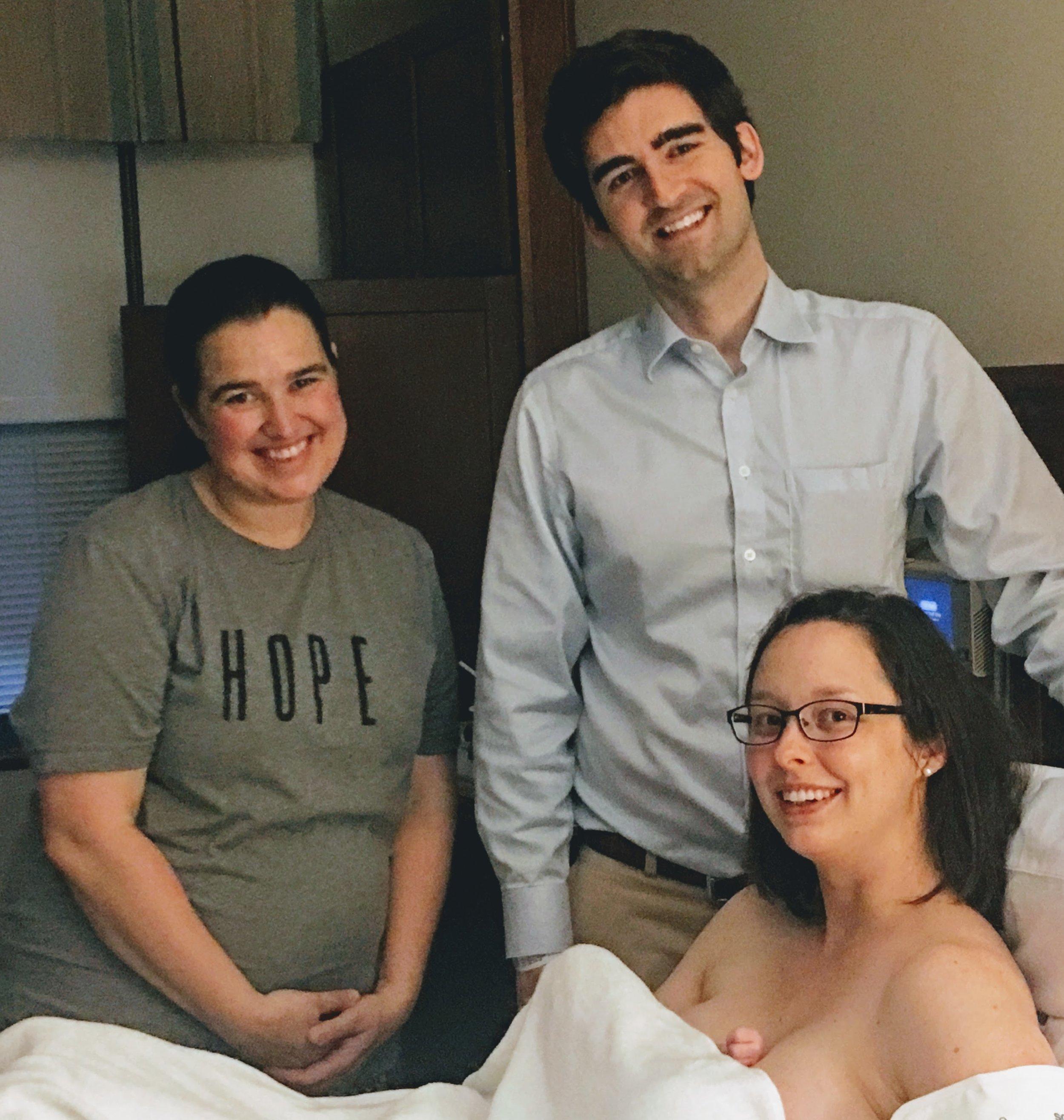 Hasty entrance, happy team —at  Inova Loudoun Birth Center  with Tabitha Kaza CD(DONA)