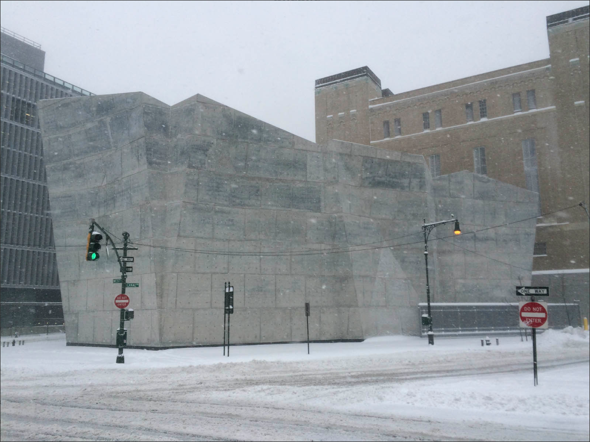 Braving Winter Storm Jonas: the Spring Street salt shed by Dattner Architects and WXY Architecture + Urban Design. Image by David Bench.