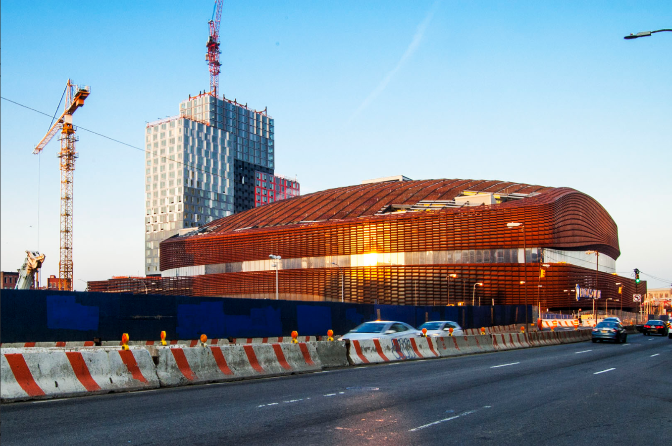 "The ""strange but appealing mass"" of Barclays Center, designed by ShoP Architects and opened in 2012. Image by Jonathan Chesley."