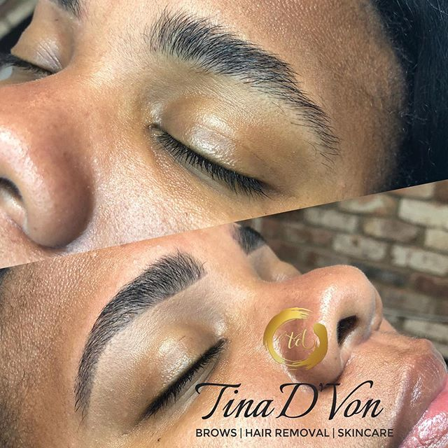 """This Doll came to me with complaints stating that Threading from local salon was Thinning the Tails of her Brows and damaging her Arch. Long story short... I took her on """"My Brow Journey"""" know she's on her way to Fabulous Brows💪🏾 Tools used: @niccktownsendsalon  Precision Tool Kit ▪️Click the """"Book"""" tab in my bio for all your hair removal needs🤗 ******************************* 💕 💕 💕 💕 💕 💕 💕 #TinaDVon #raleighbrows #raleighblogger #raleighmassage #raleighmua #raleighlashes #raleighnails #raleighhair #raleighmakeupartist #raleighnightlife #raleighbraider #durhammakeupartist #raleighhairstylist #raleighfood #raleighspa #raleighbeauty #durhamhairstylist #durhamnails #durhambraider #durhammua  #durhambrows #carynails #browwaxing #caryhairstylist #carymakeupartist #eyes #browgoals #Love #carybrows #Durham"""