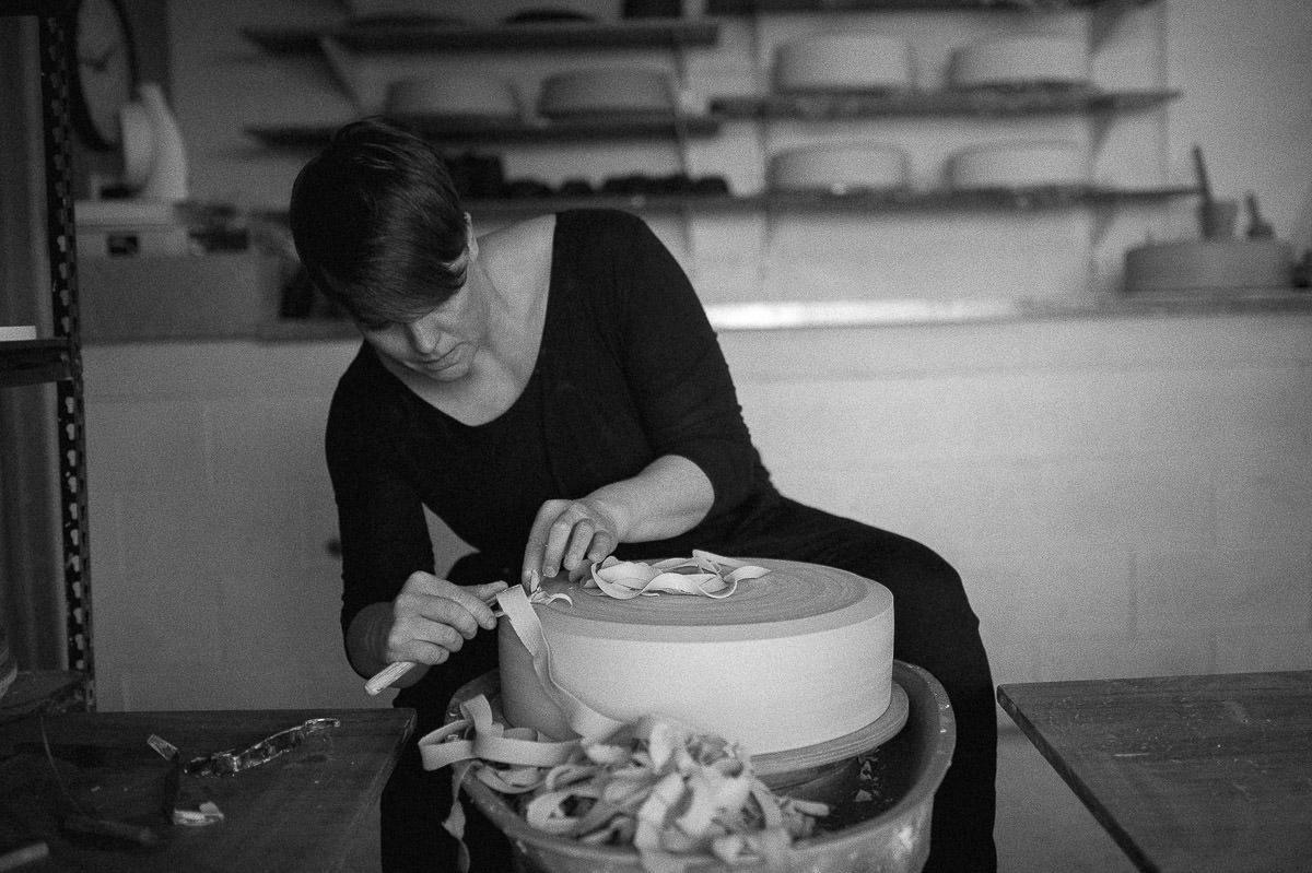 Tasmanian ceramicist Lindsey Wherrett in her workshop