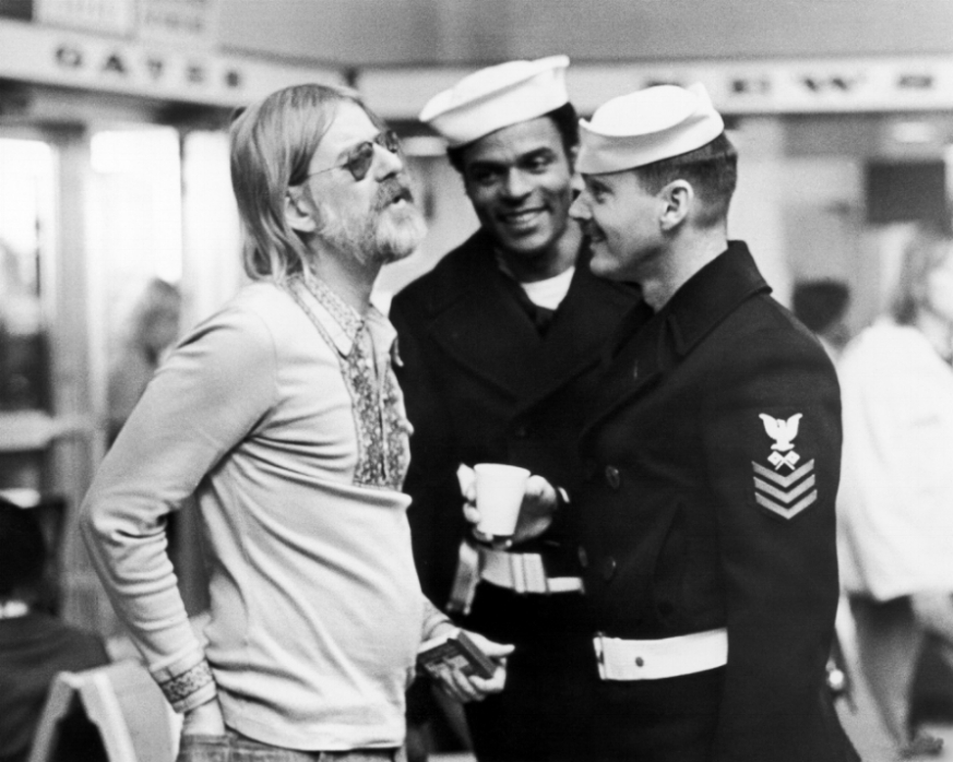 Hal Ashby, left, with Otis Young and Jack Nicholson on the set of  The Last Detail