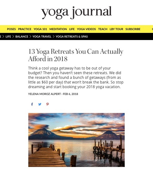 Yoga Journal: Top Retreats in 2018 - Top affordable retreat in 2018