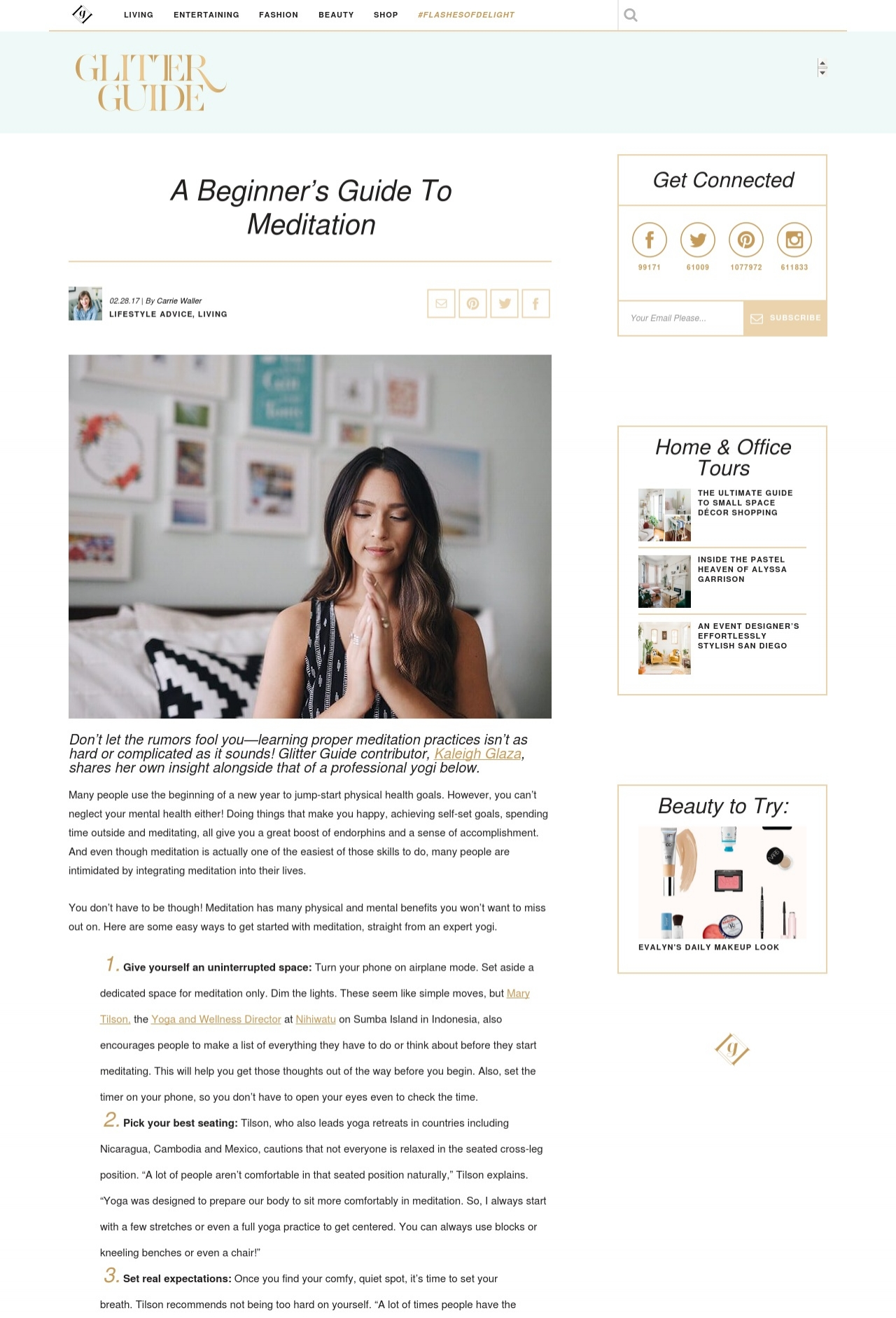 Glitter Guide - Click to ready Mary's Beginner Guide to Meditation