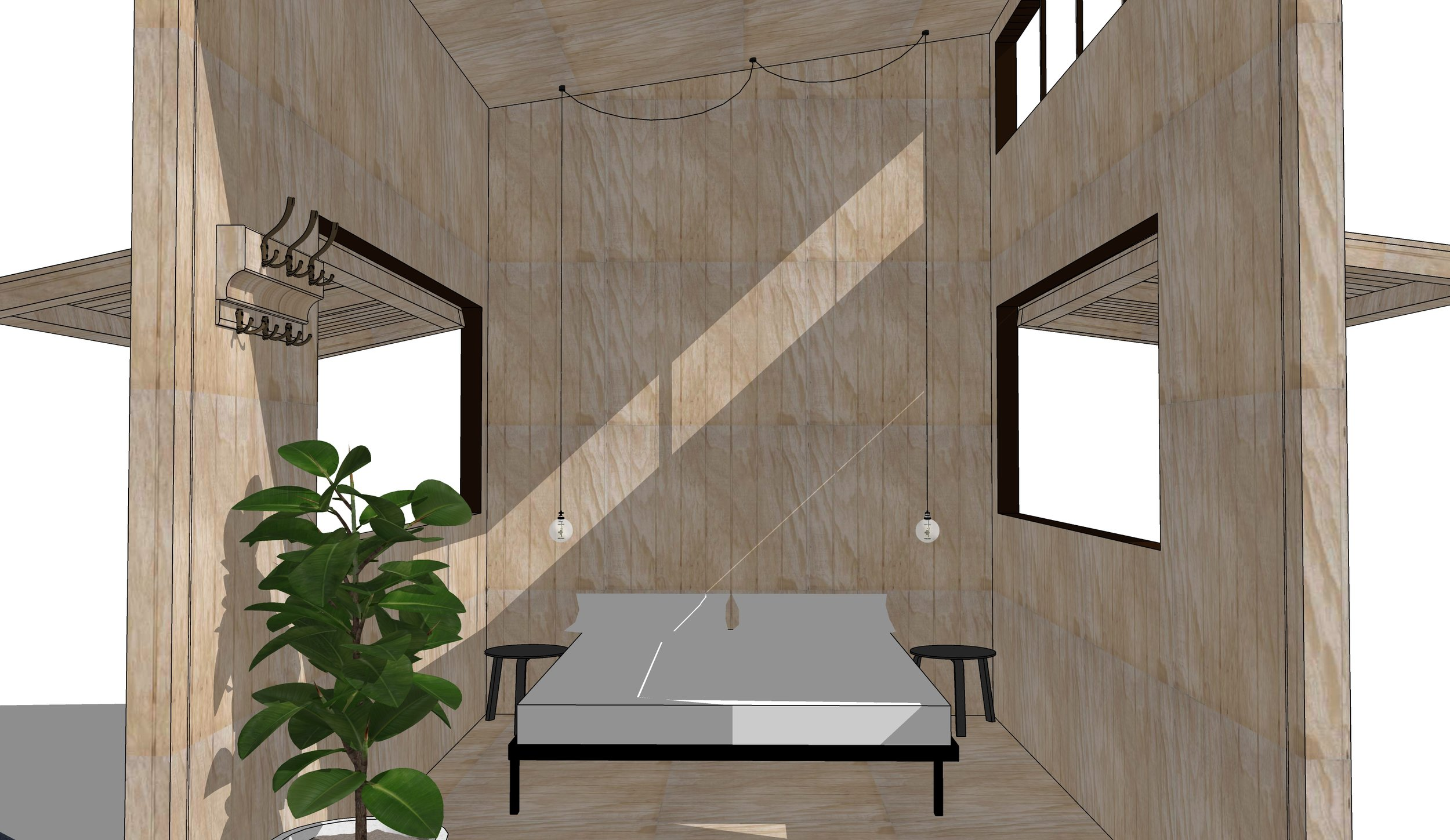 01.   This design is intended to be a simple, light, open space for people to relax in and appreciate the beauty of natural timber.   The statement fold-down deck/entrance needs further engineering to function smoothly.