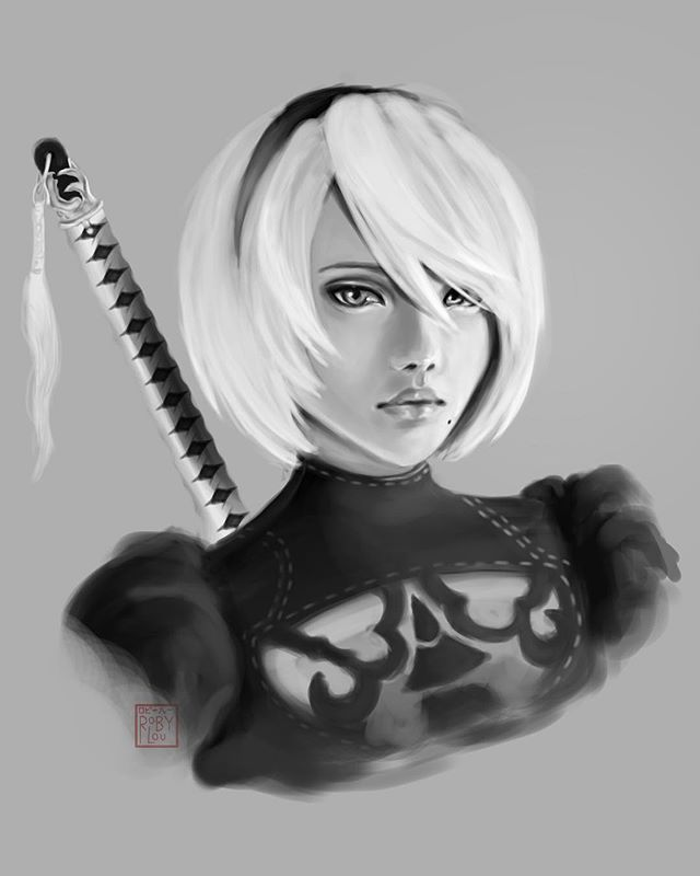 2B from NieR:Automata! The second picture here is one I did a little over a year ago! I'm so proud of not only my skill progress, but also my patience to work on one piece before I get super frustrated ☺️ . . . . . . . . . .  #illust #digitalarts #digitaldoodle #digitalsketch #photoshop #photoshopart #2b #nierautomata2b #nier2b #2bnierautomata #2bfanart #nier #nierautomata #nierautomatafanart