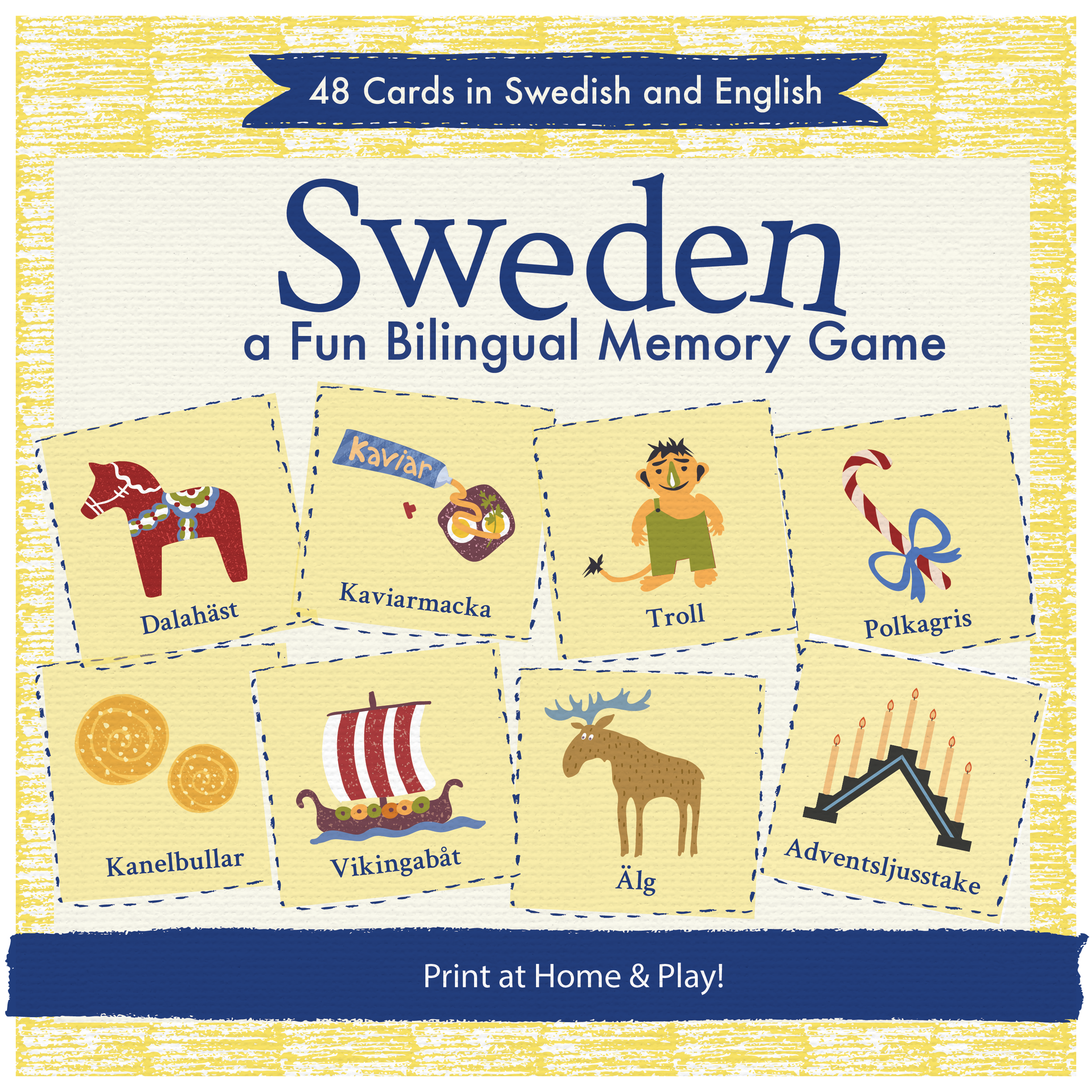 Sweden Memory Game - From Dala horses, to Midsummer poles and meatballs – this is a fun memory game about everything that's typically Swedish! Each 'pair' consists of the Swedish and English word - so the whole family can join in and learn.