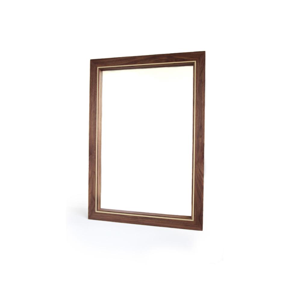 Walnut with Brass Inlay Mirror