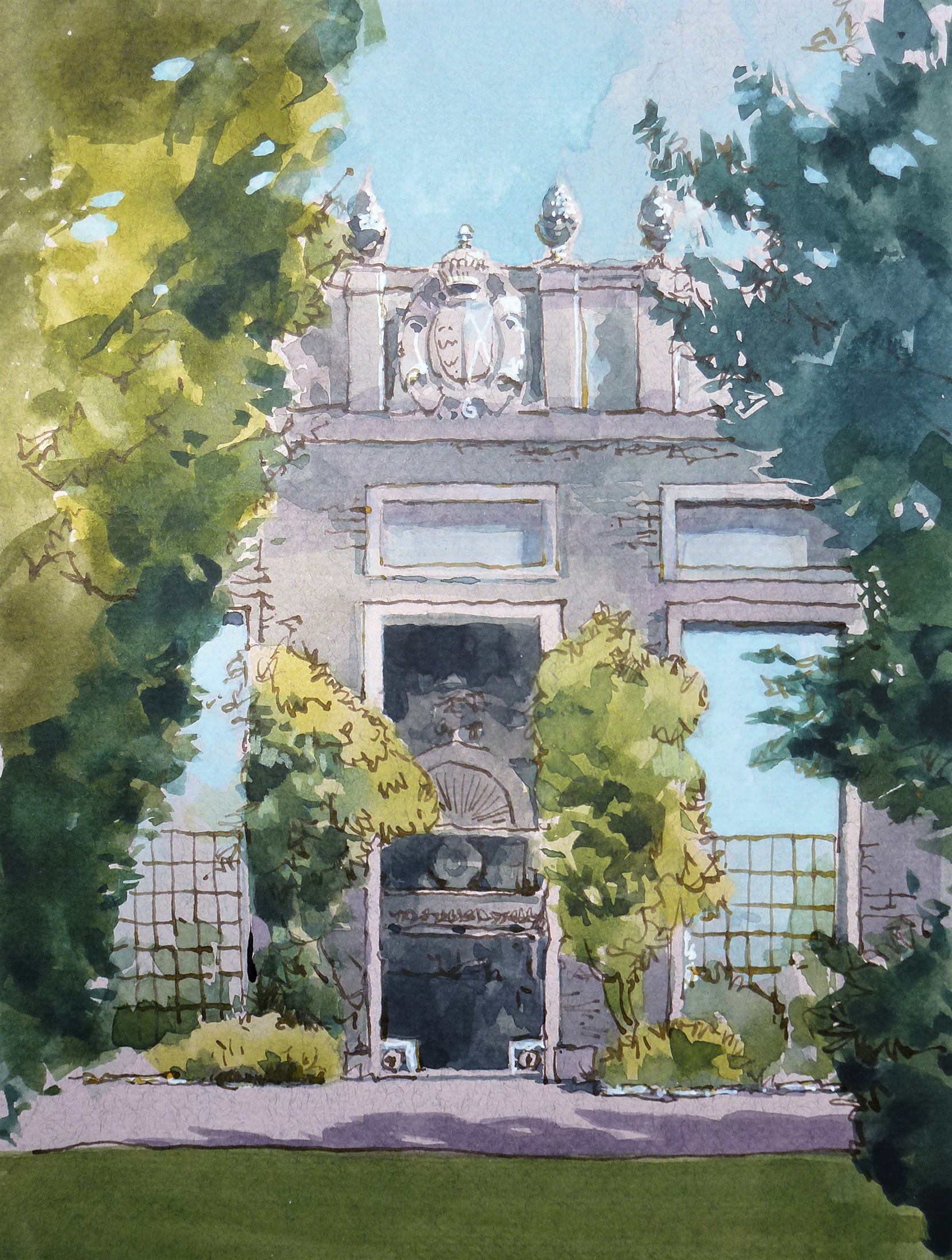 Claire Denny,  Castle Ashby Water Fountain,  watercolour painting