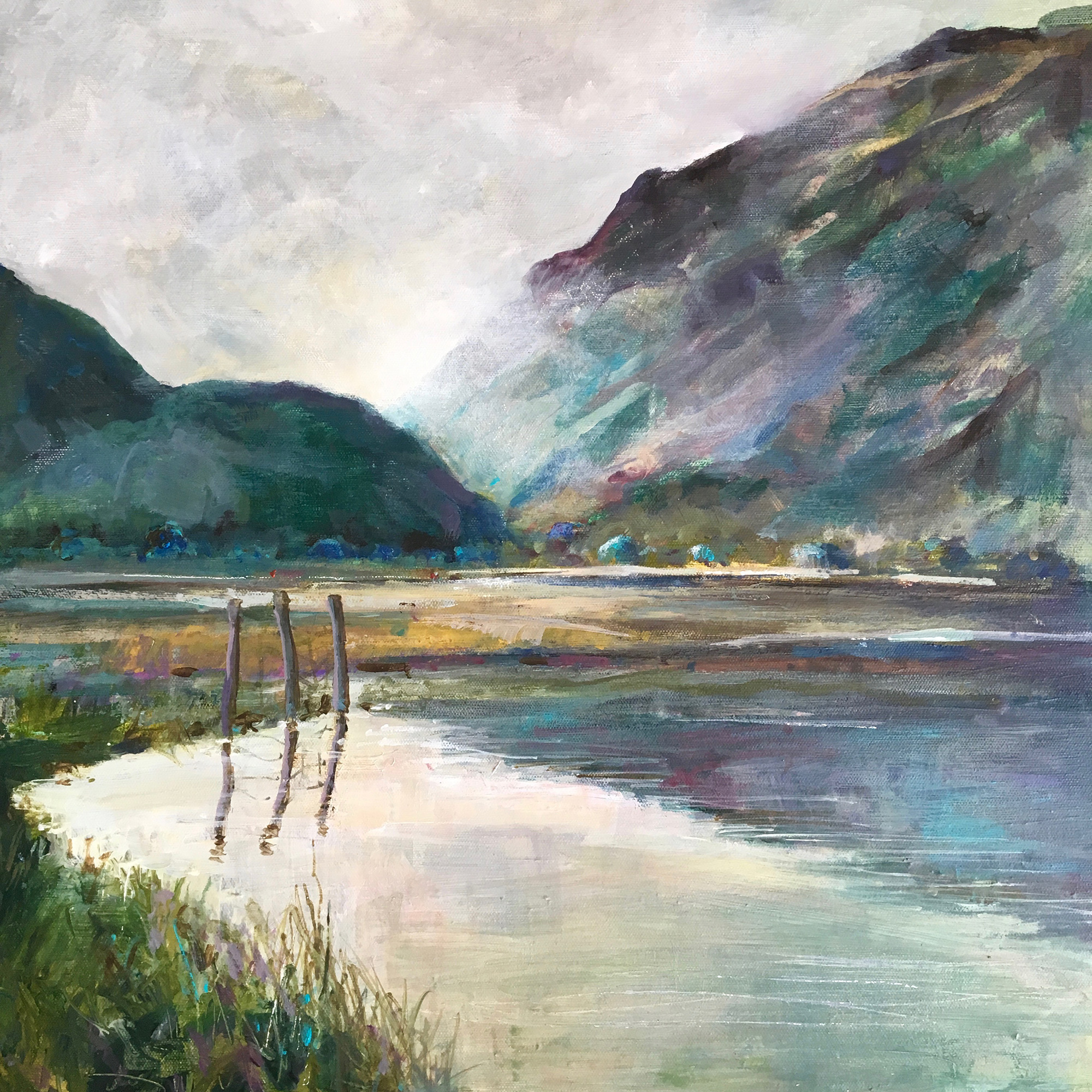 Chris Richbell,  From Derwentwater , acrylic painting