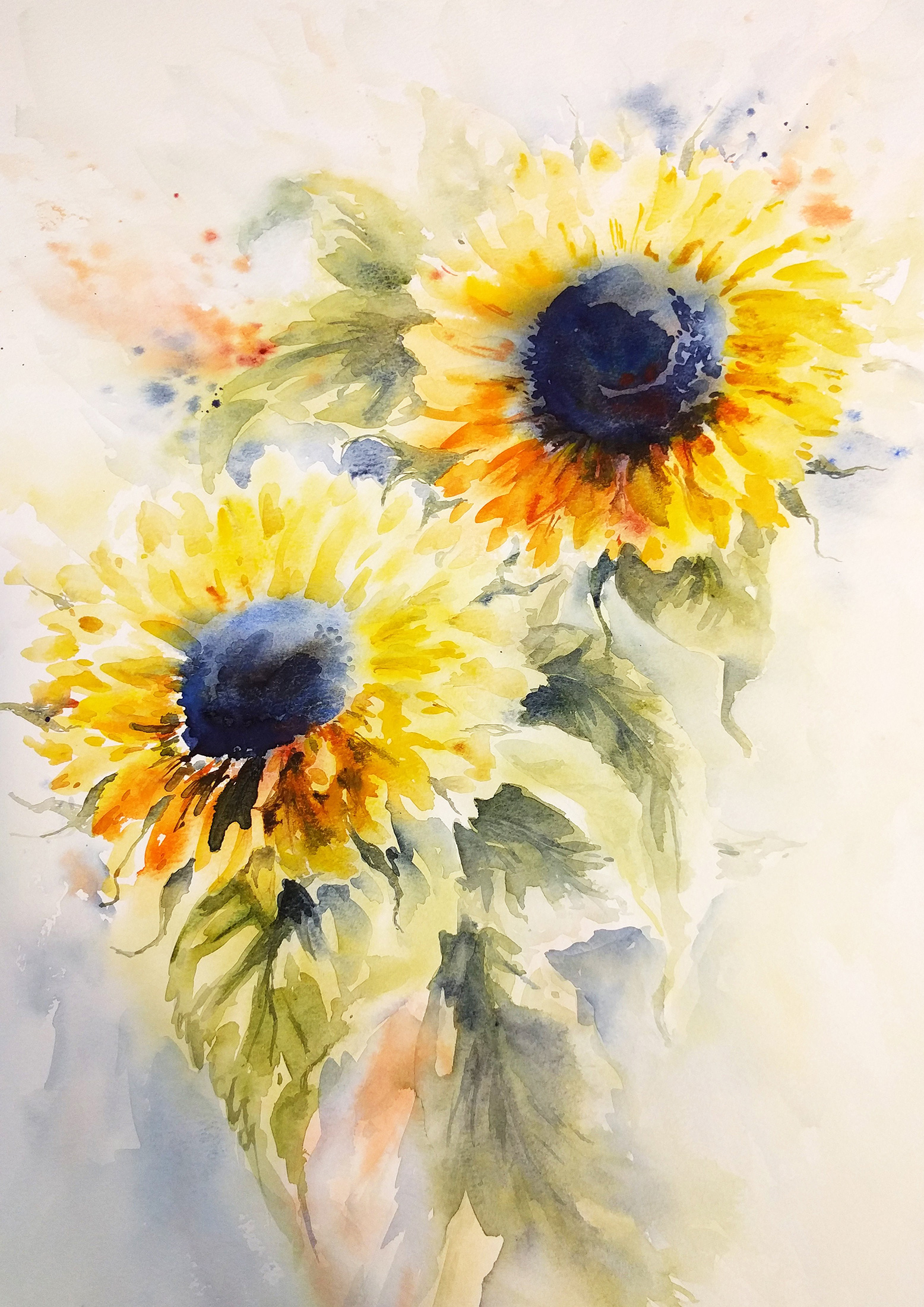 Nicky Hunter,  Sunflower Duo , watercolour painting