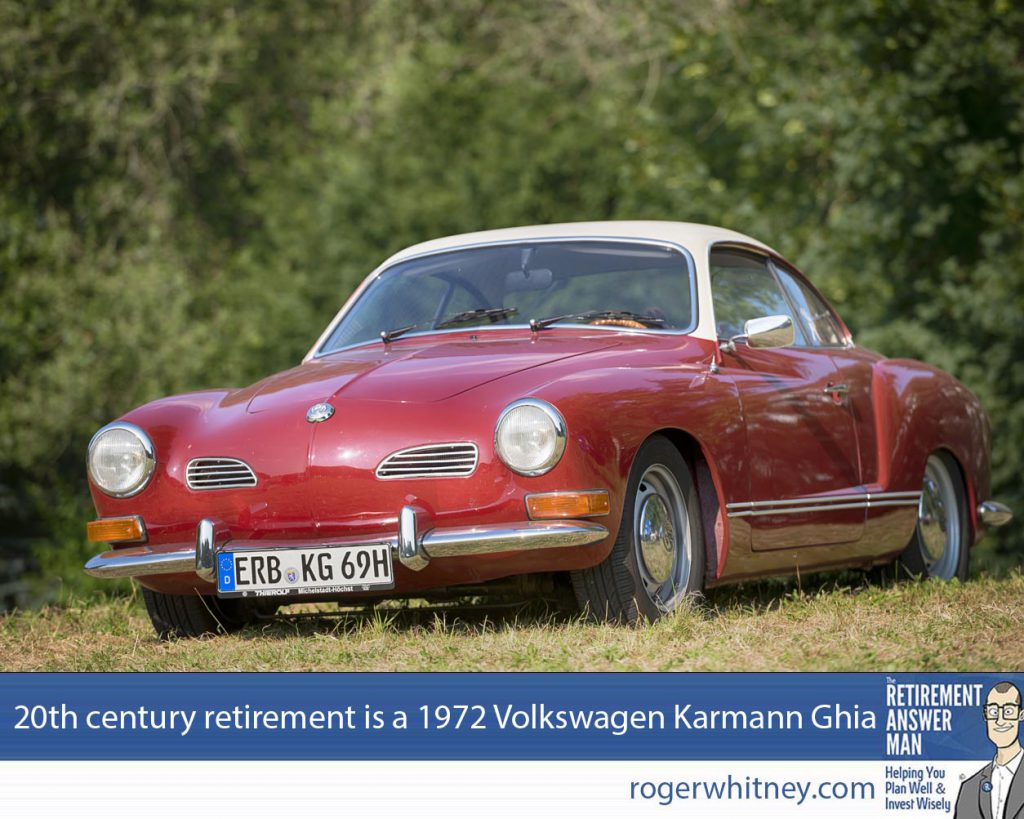 The old misconceptions about retirement are like a 1972 Volkswagen Karmann Ghia, uncomfortable, unreliable, and unsafe. Time to force them off the road. Bad KAnig, Germany - July 13, 2013:A red Volkswagen Karmann Ghia from 1969 sits in a meadow. The car was manufactured by Volkswagen from 1955-1974. Volkswagen Group is a German automobile manufacturing group based in Wolfsburg, Germany and founded in 1937.