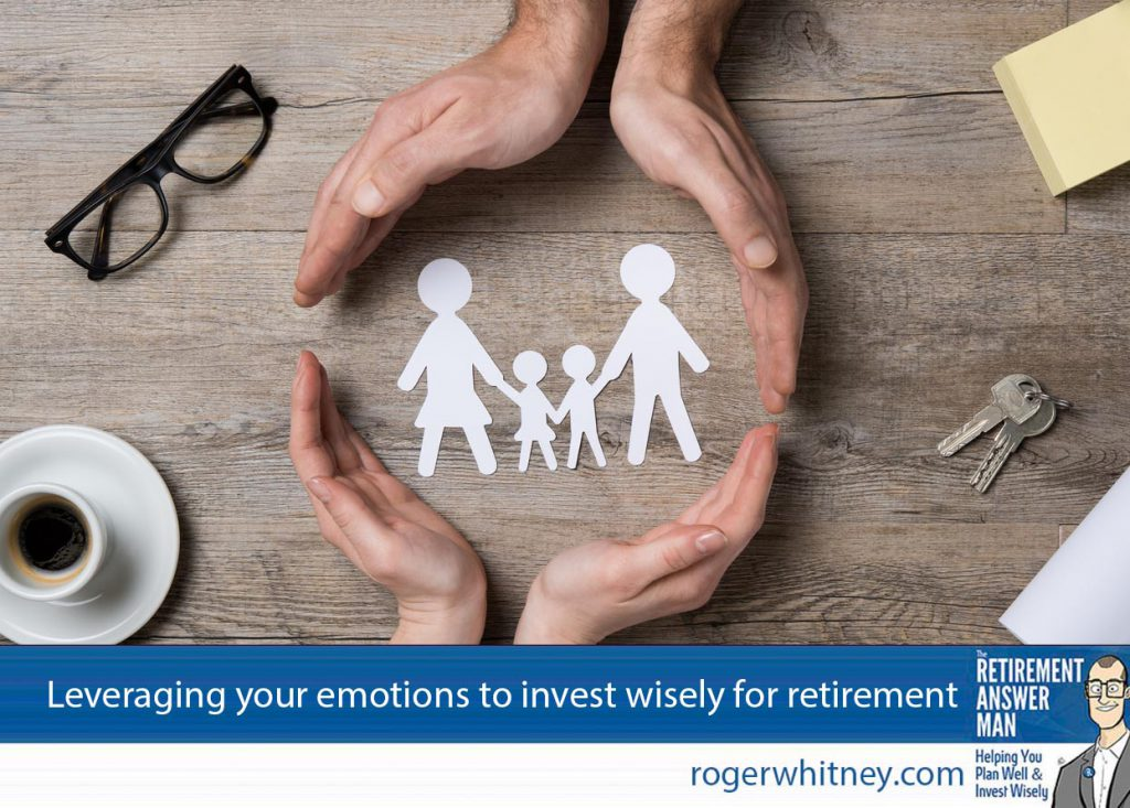 Emotional investing isn't so much about using emotions to choose investments. It should be about choosing which emotions to pay attention to for your retirement savings. Close up of female and male hands protecting a paper chain family. Top view of two hands form a circle around white paper chain family on wooden table. Family care, insurance and helping hand concept.