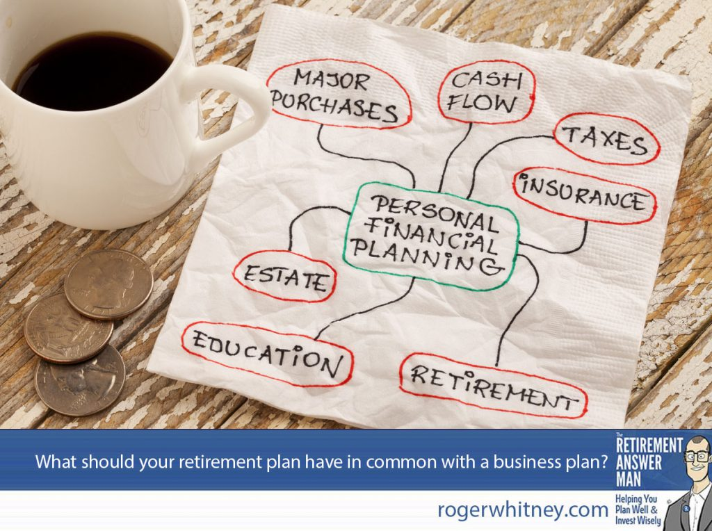 Your retirement plan and your business plan should have 6 things in common...ish. personal financial planning concept - napkin doodle with espresso coffee cup and coins on a grunge wooden table.