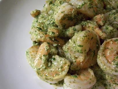 Sauteed shrimp with mint and pea pesto.JPG