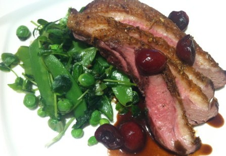 Slow-Roasted Duck Breasts with Spiced Cherries and Three Pea Compote.jpg
