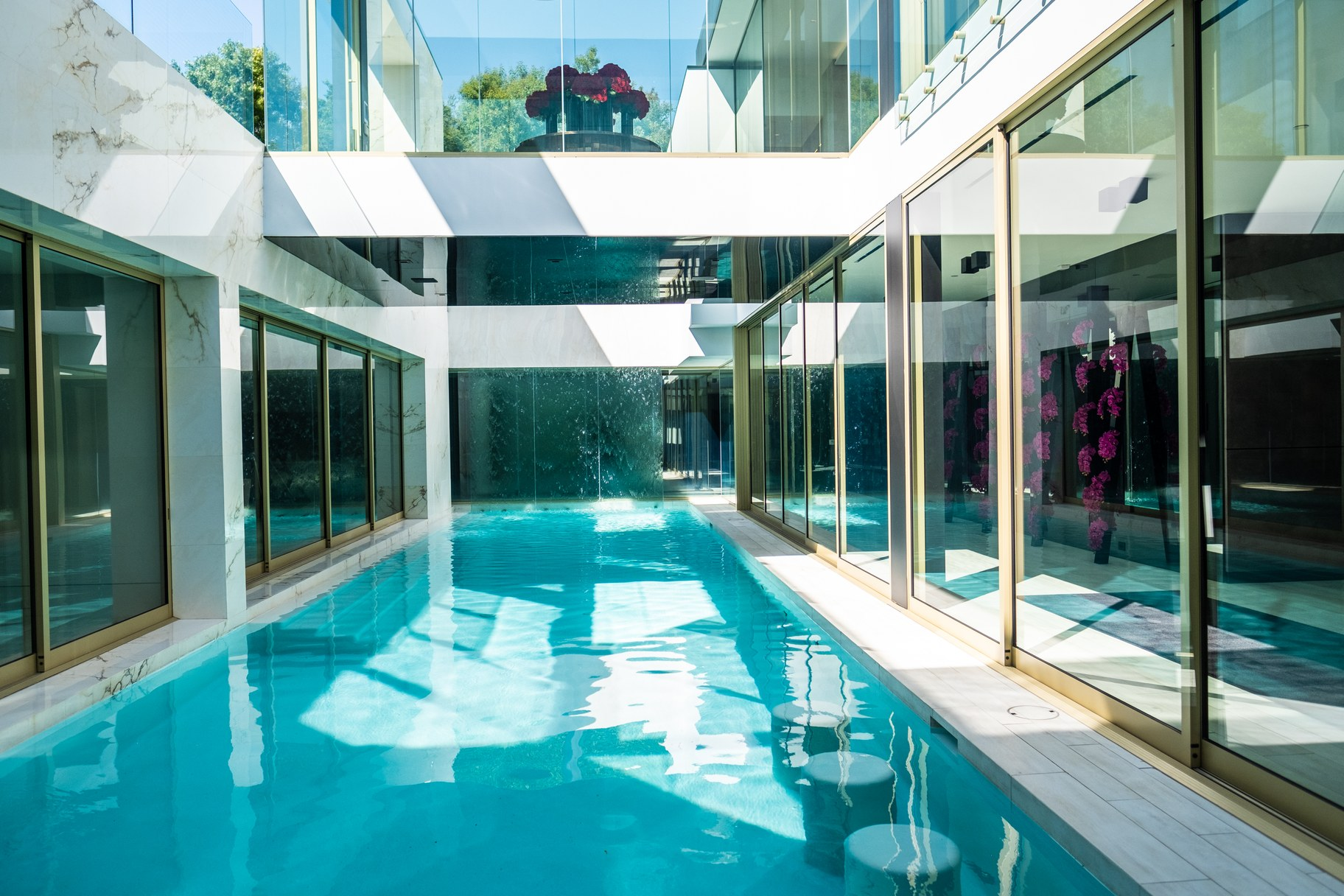 The infinity pool at the basement level.