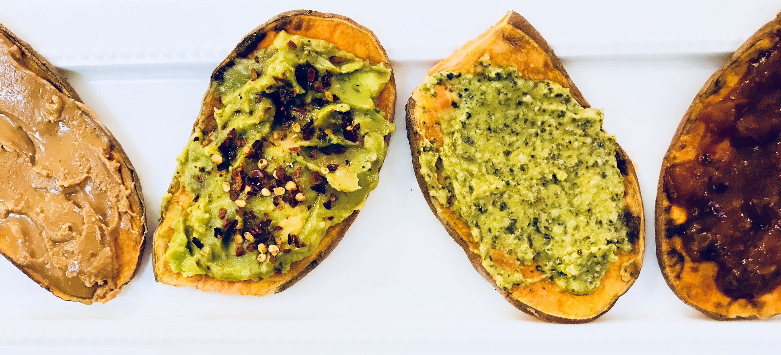 From left to right: Santa Cruz Organics' creamy peanut butter, avocado with crushed red pepper flakes,; Hope Food's kale & pesto hummus; black bean salsa.