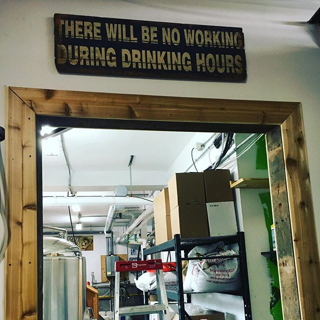 "Another busy day @lockstreetbrewco I framed in our walkway between production spaces with recycled cedar from the shop next door and some old original 2x6's (they are actually 2"" x 6"" made in 1850) that I took from the third floor. Then we picked up a great fridge (thank you Kijiji) and logo'ed it up!!! #diy #madeinportdalhousie #craftbeer #entrepreneur #entrepreneurlife #lockstreetbrewco"