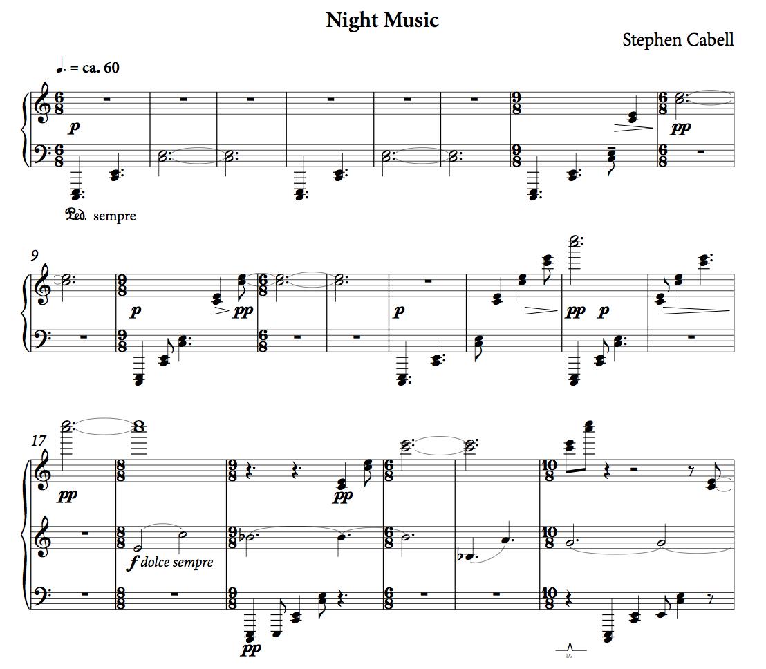 NIGHT MUSIC score: page 1