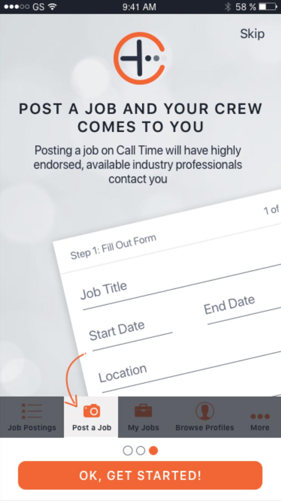 App Screenshot: Posting A Job