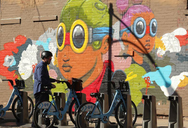 A 2018 mural by artist Hebru Brantley on Wood Street at the corner of Milwaukee Avenue. (Chris Walker/Chicago Tribune)