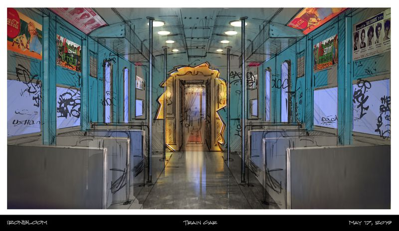 An artist's rendering of the Train Car in Nevermore Park. (Ironbloom Creative Productions)