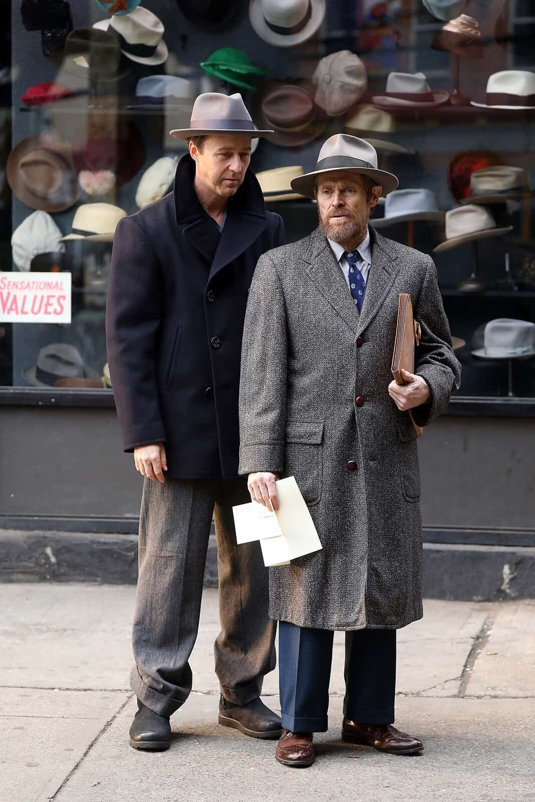 Norton and Willem Dafoe in 'Motherless Brooklyn'