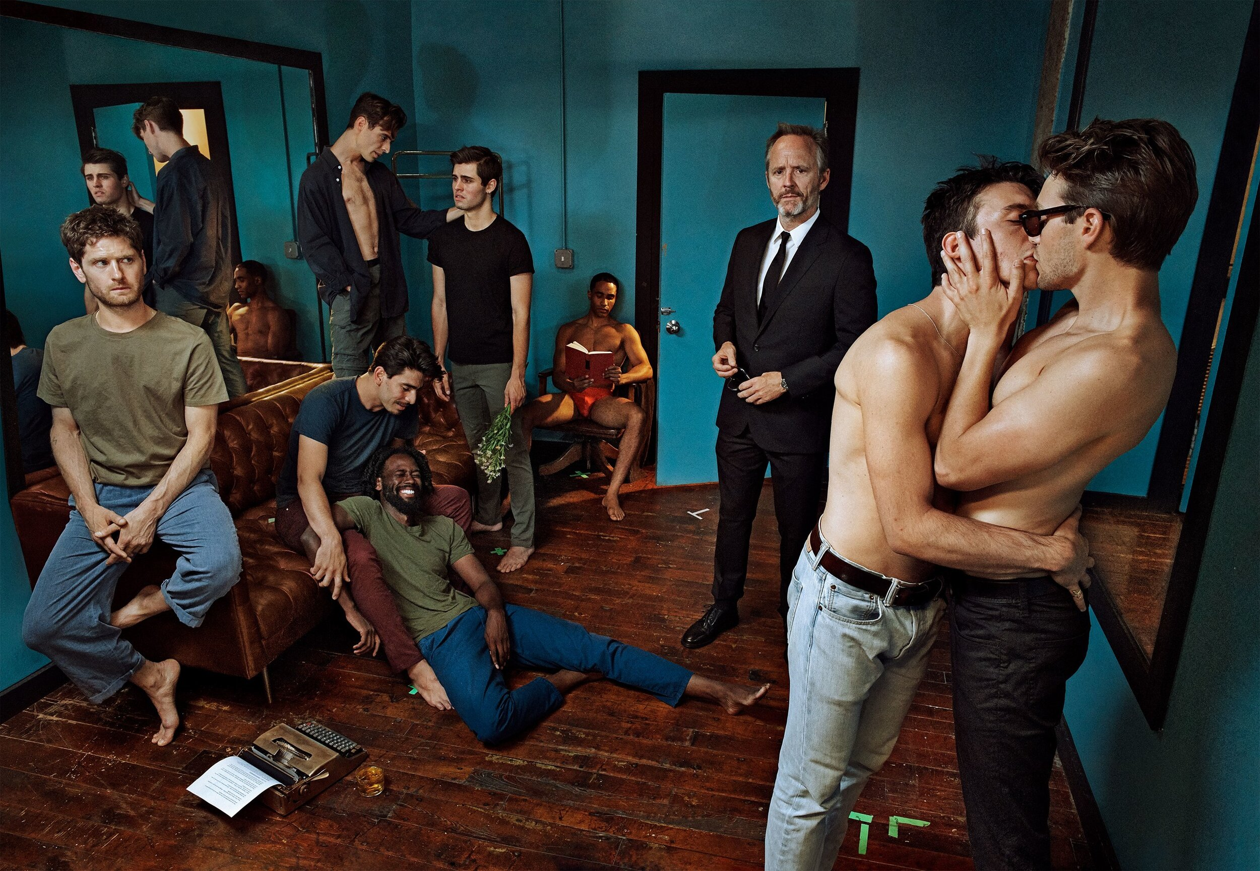 Clockwise from top left: The Broadway cast of The Inheritance includes Dylan Frederick, Carson McCalley, Jonathan Burke (seated, with book), John Benjamin Hickey (standing, in suit), Samuel H. Levine, Andrew Burnap (in sunglasses), Darryl Gene Daughtry Jr. (on floor), Arturo Luís Soria (crouched), and Kyle Soller (seated).  Sittings Editor: Phyllis Posnick. Produced by LOLA Productions. Set design, Jesse Kaufmann. Photographed at Seret Studios.  Photographed by Steven Klein,  Vogue , November 2019