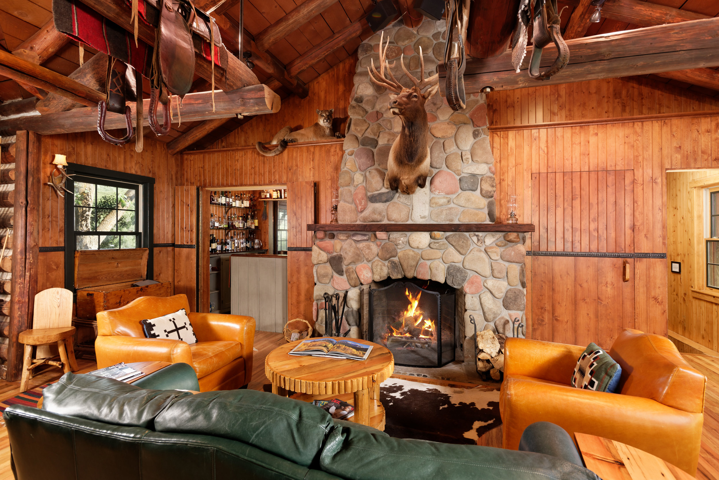 Old Elk Lodge, w/River Rock Fireplace