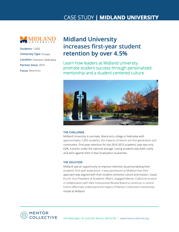 Case Study: Midland University - Review Midland University's control trial examining the impact of Peer Mentorship on student success.Read more…