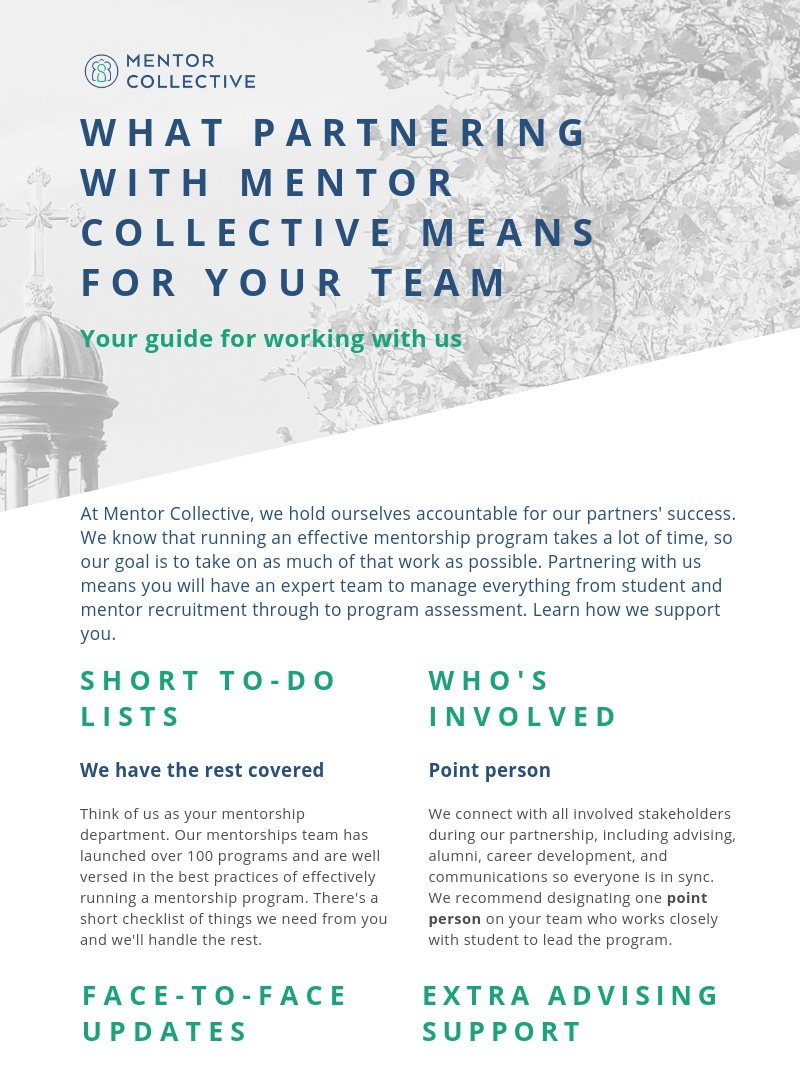 What Partnering with MC Means for your team - Download our infographic outlining what it means for your team to partner with Mentor Collective.Read more…