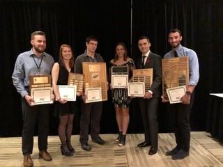 Student winners (l-r): Jacob Newman (Memorial), Mattea McRae (Memorial), Brant Gaetz (Memorial), Kali Gee (St. Marys), Garrett Velkjar (Acadia), Liam MacNeil (UNB).