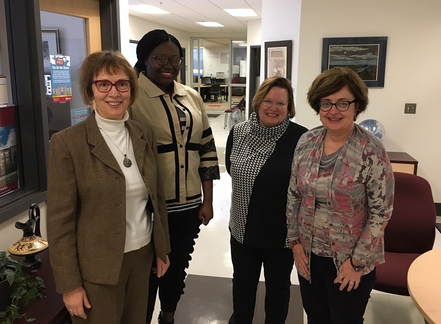 Left to right: Dr. Evie Tastsoglou, SMU; Patella Cunningham, graduate student in International Development Studies; Dr. Lori Wilkinson, University of Manitoba; and Dr. Margaret MacDonald, Dean of Arts