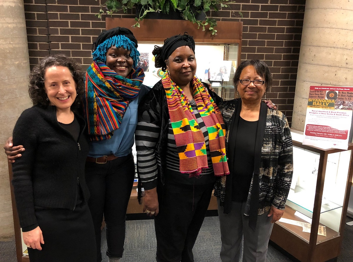 Dr. Val Marie Johnson (at left), Chair of SMU's Department of Social Justice & Community Studies, organized the panel event and exhibit along with SMU Archivist Hansel Cooke. Beside her are panellists Francesca Ekwuyasi, Dr. Lynn Jones and Regina James.