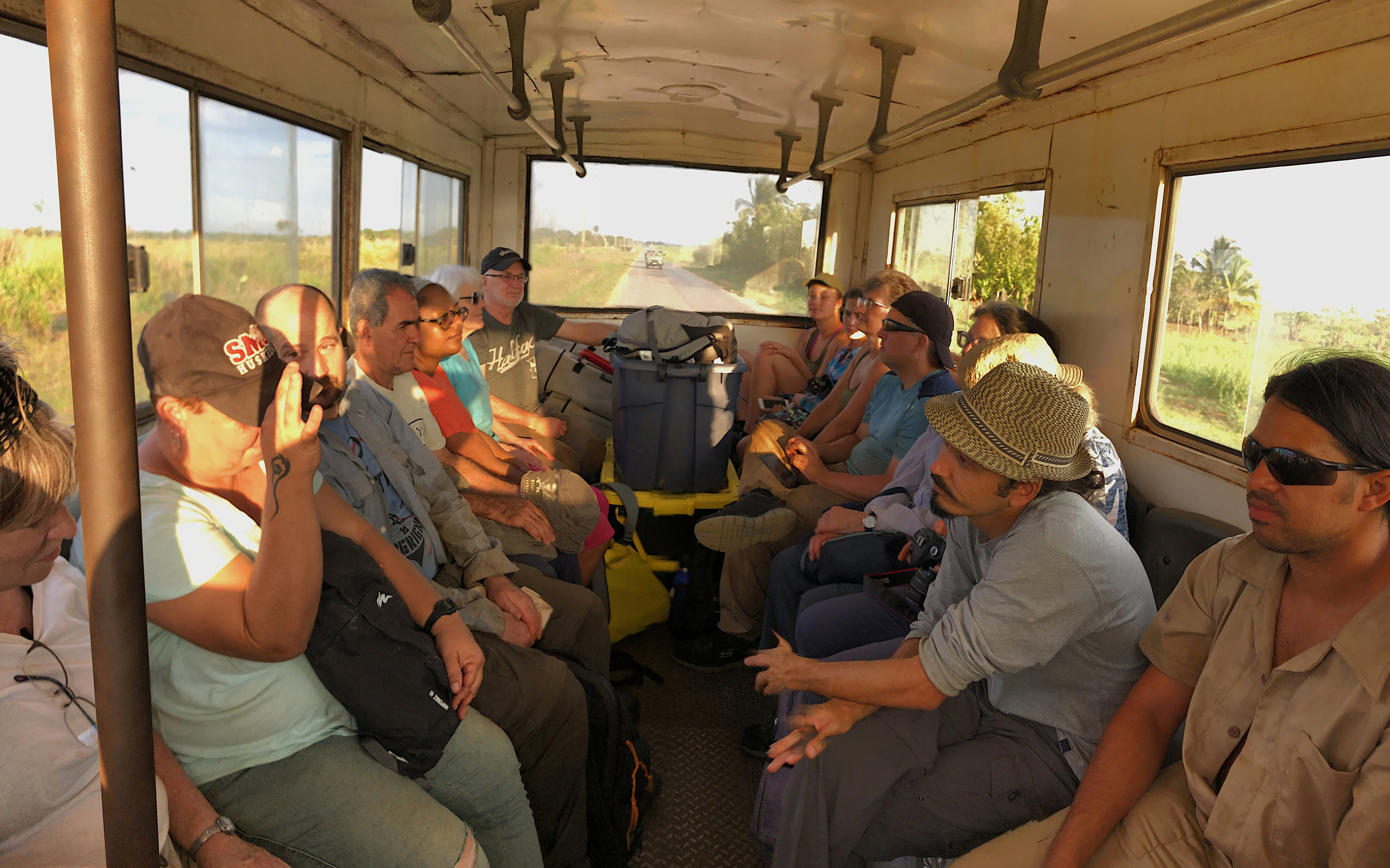 Commuting to the site by bus.