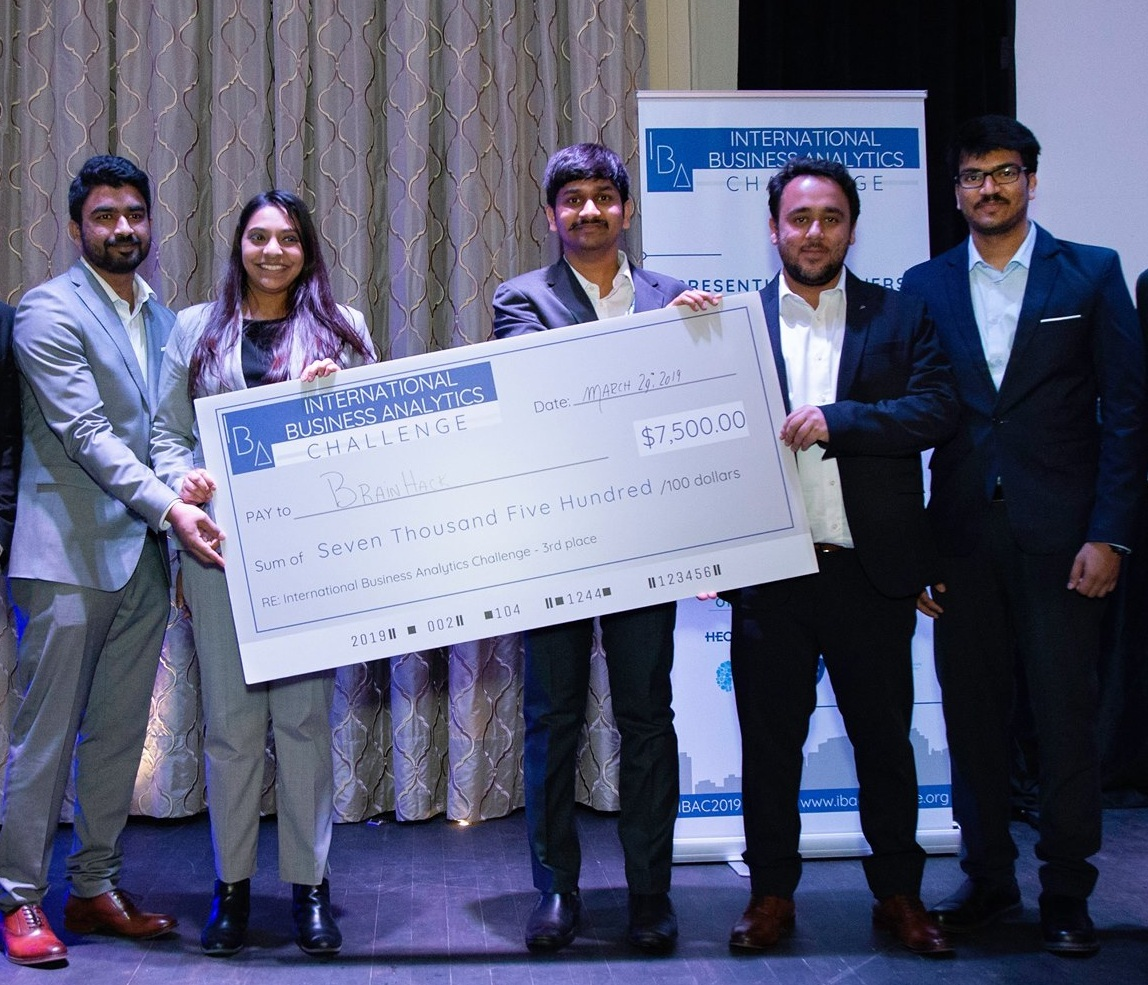 MSc CDA students Sonam Vadsaria, Narasimha Rao Durgam, Sri Akhil Reddy Kovvuri, Sreeraj Punnoli, and Ravneet Singh Oberoi with their $7,500 prize.