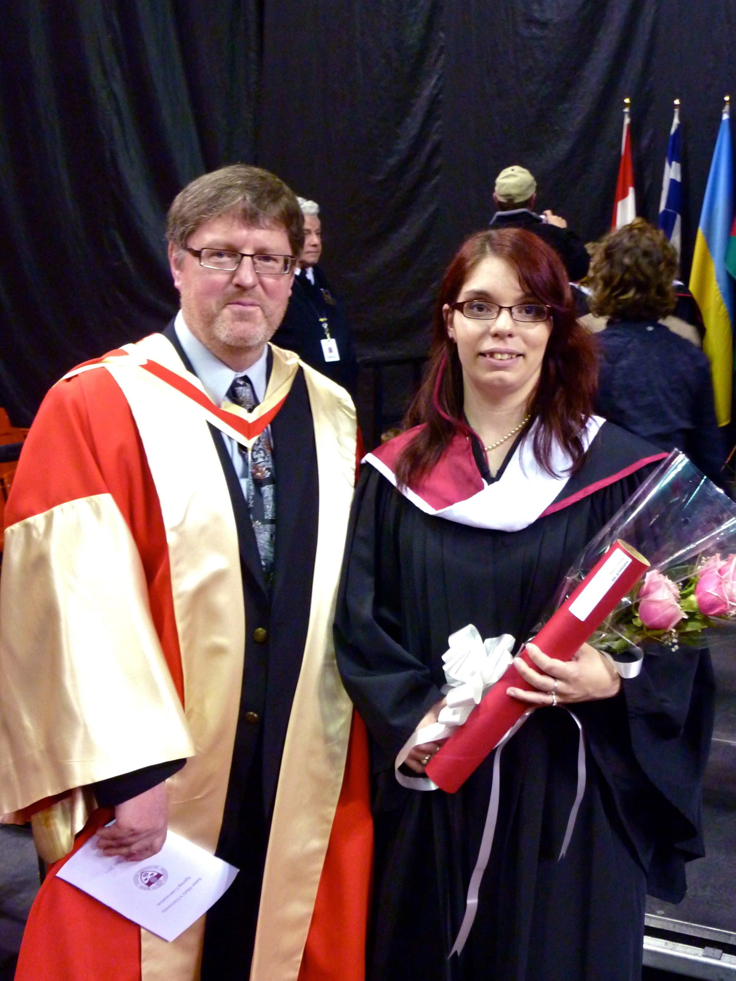 On graduation day in 2011, with Dr. Pádraig Ó Siadhail, the D'Arcy McGee Chair of Irish Studies
