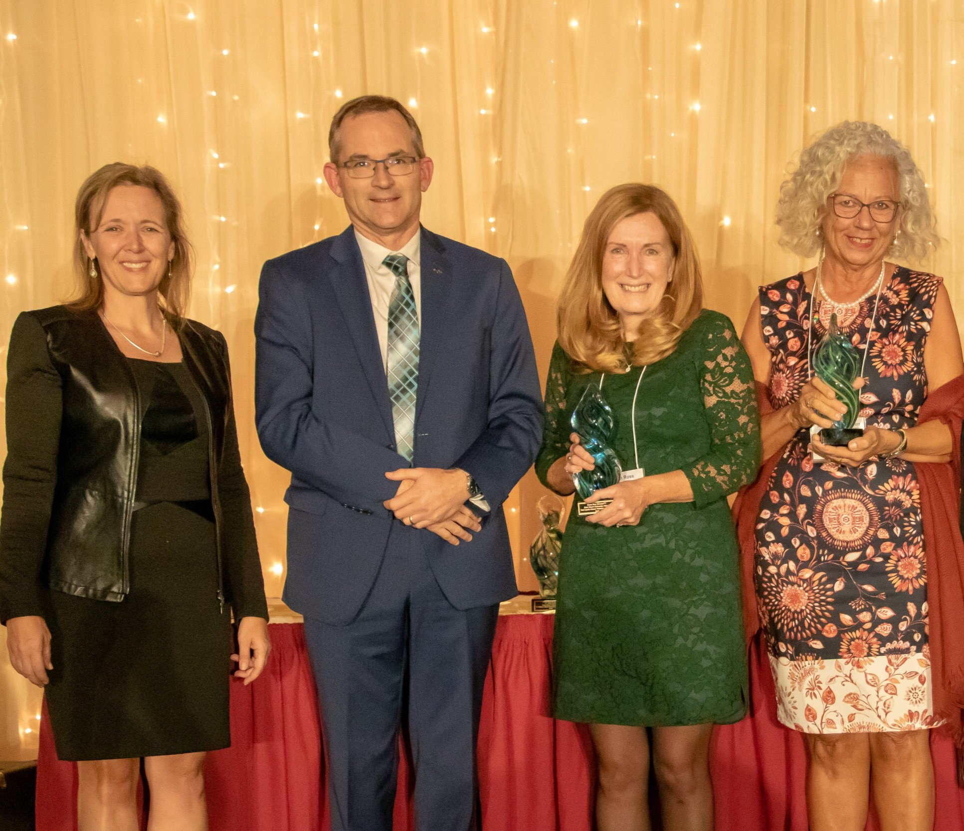Erin Sargeant Greenwood and Dr. Rob Summerby-Murray with alumni award winners Karen Ross and Joann Boulos-Callias
