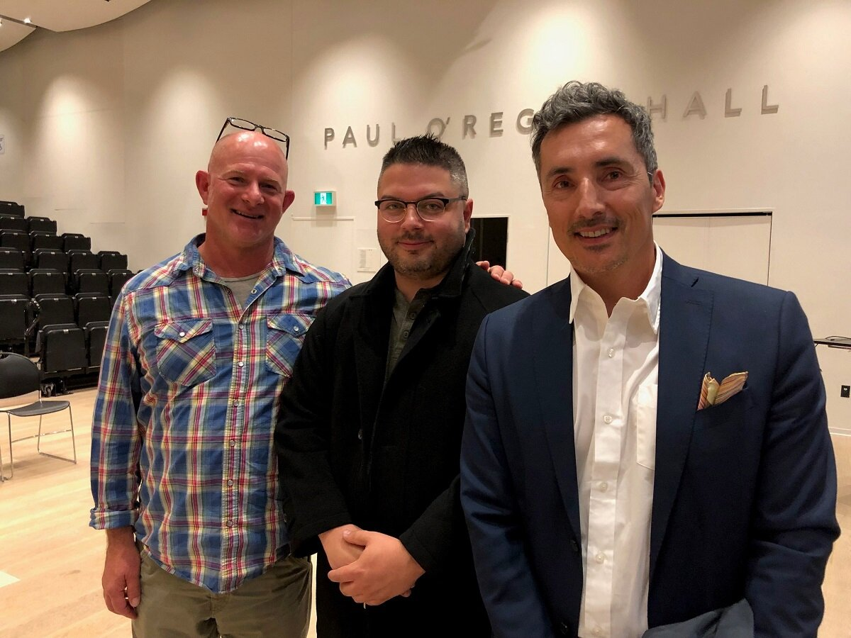 Left to right: Dr. Rylan Higgins, Chair of the Department of Anthropology; Raymond Sewell, Indigenous Student Advisor; and Artist Kent Monkman