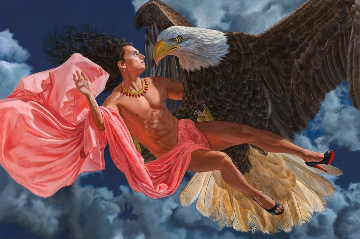 """Being Legendary   (2018), by Kent Monkman, acrylic on canvas, 48"""" x 72"""""""