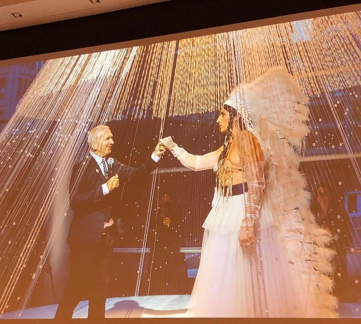 Screened at the Making Miss Chief event, this is a scene from  Another Feather In Her Bonnet | Miss Chief Eagle Testickle & Jean Paul Gaultier . The short film captures Miss Chief's faux 2017 wedding to the fashion designer at the Montréal Museum of Fine Arts. See it on the  Kent Monkman Studio's YouTube channel .