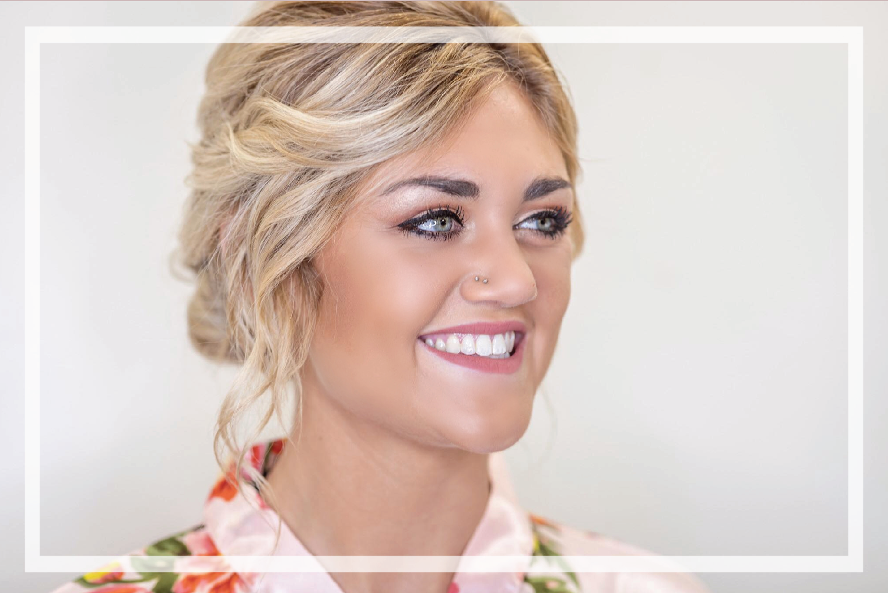 In House - We give you the opportunity to reserve the entire salon, while we provide you with complimentary mimosas and a light brunch, matching floral robes for you and your girls, a private changing room and the perfect wedding day play list.