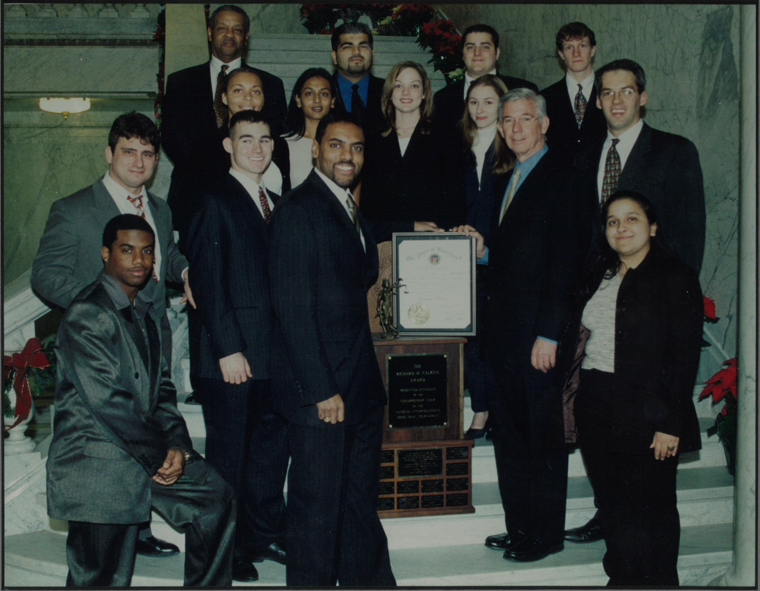 National Champions - After winning the national championship in 2000, Maryland Mock Trial team members and coaches were honored by the Maryland House of Delegates and Governor Paris Glendening.