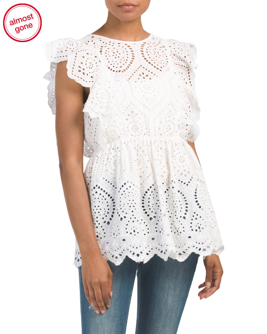 I am so sad! As of this writing, this is almost sold out. It is super cute and flattering. I cannot resist a good white summer top. -
