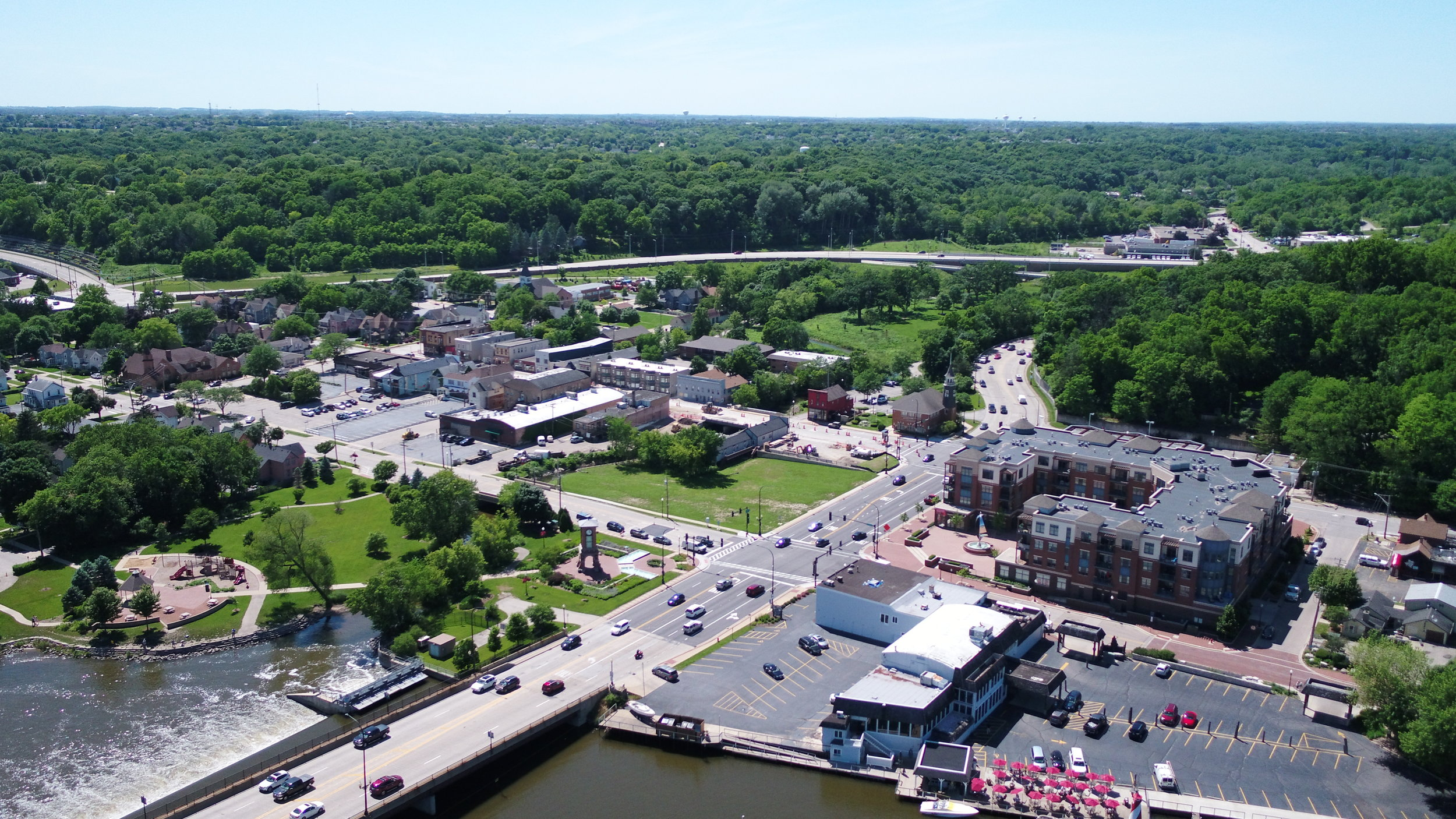 Algonquin Downtown Cultural District viewed from above the Fox River