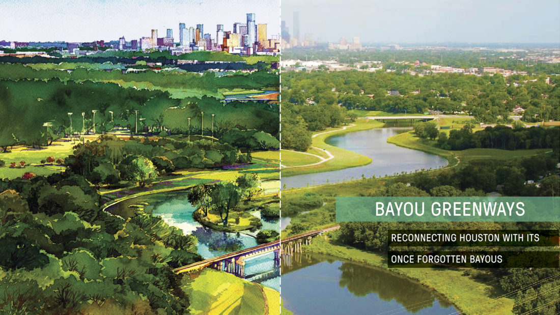 - The Greenways initiative is a seven year program that has already reclaimed several neglected waterways near downtown. Talley Landscape Architects is excited to be a part of this wonderful reinvention of our Bayous here in Houston.