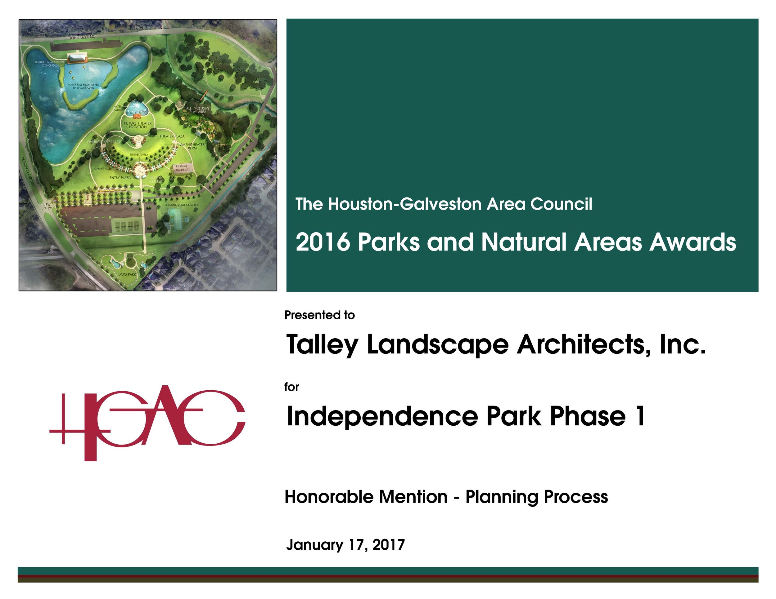 - TLA is happy to announce that City of Pearland's Independence Park won HGAC's Parks and Natural Areas Award for the Planning Process of the Project. Thank you Houston-Galveston Area Council