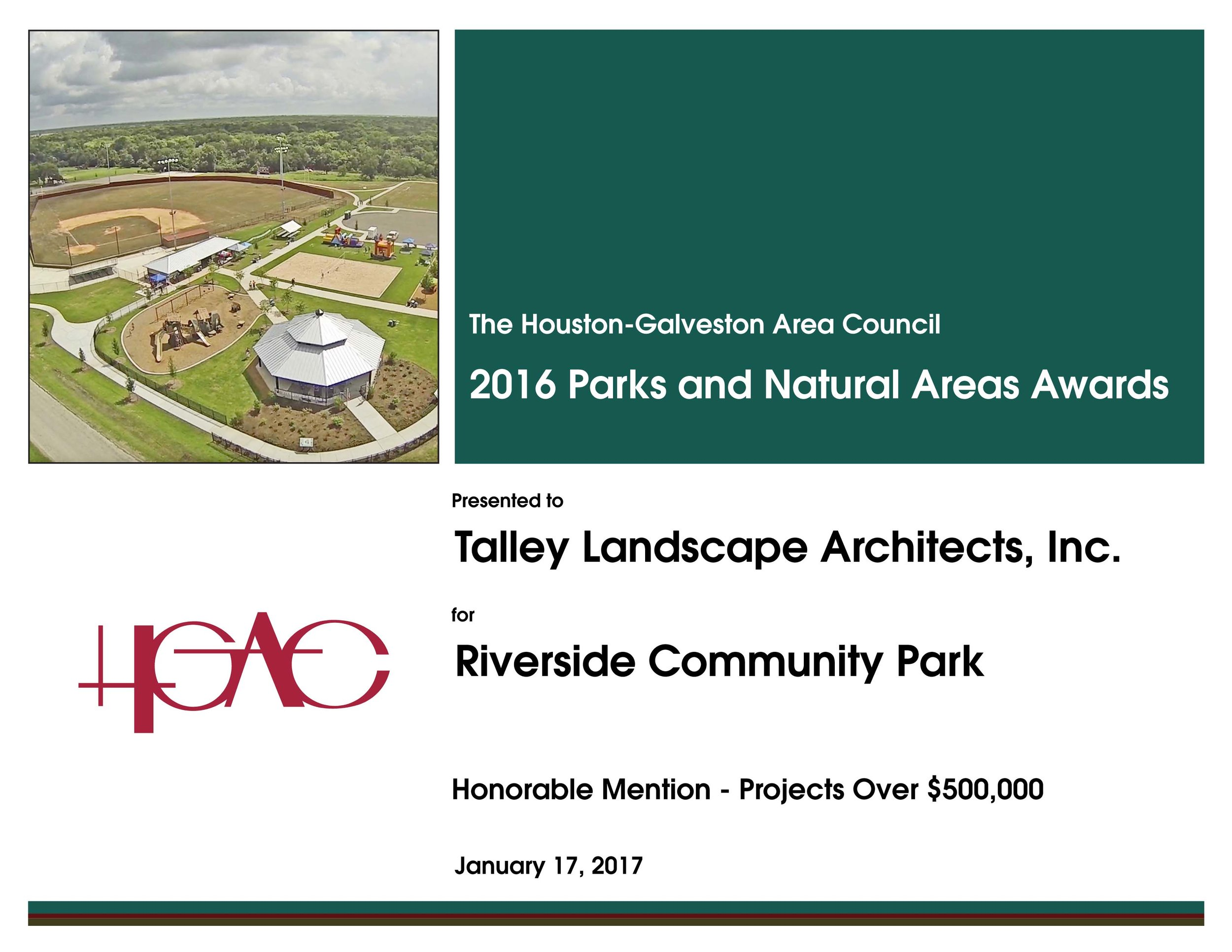 - TLA is happy to announce that City of East Bernard's Riverside Community Park won HGAC's Parks and Natural Areas Award for On-The-Ground Projects Over $500,000. Thank you Houston-Galveston Area Council
